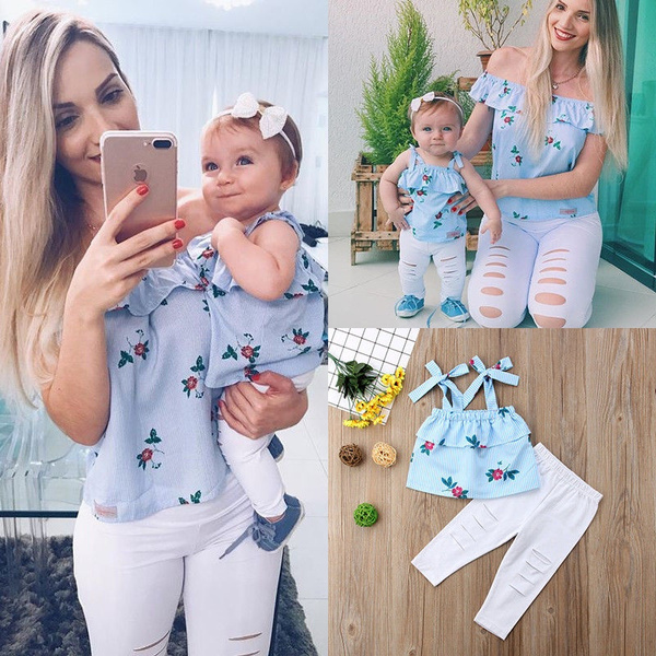Family Matching Mother Daughter Women Kids Floral Striped Tops Pants Clothes