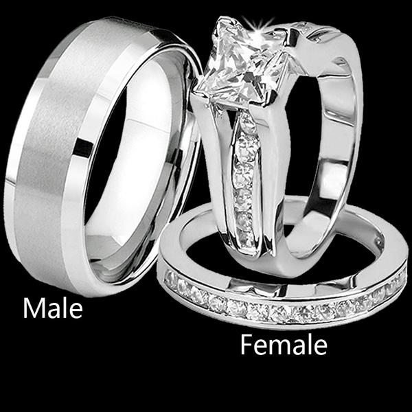 Couple Rings, Cubic Zirconia, Engagement Wedding Ring Set, wedding ring
