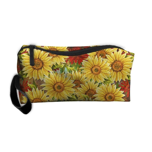 01fd0222fecf Sunflowers And Red Flower Handaes Portable Toiletry Cosmetic Bag Waterproof  Makeup Make Up Wash Organizer Zipper Storage Pouch Travel Kit Handbag
