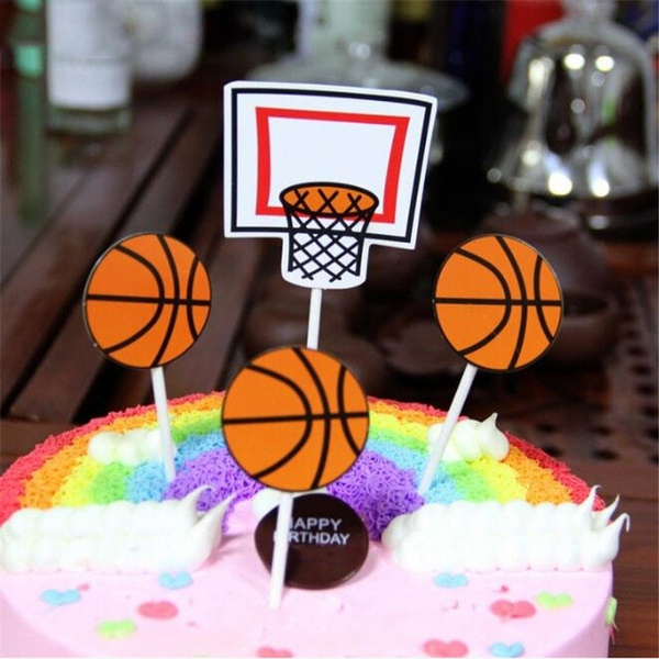 Astounding 4X Basketball Soccer Baseball Shaped Cake Toothpick Toppers Funny Birthday Cards Online Kookostrdamsfinfo