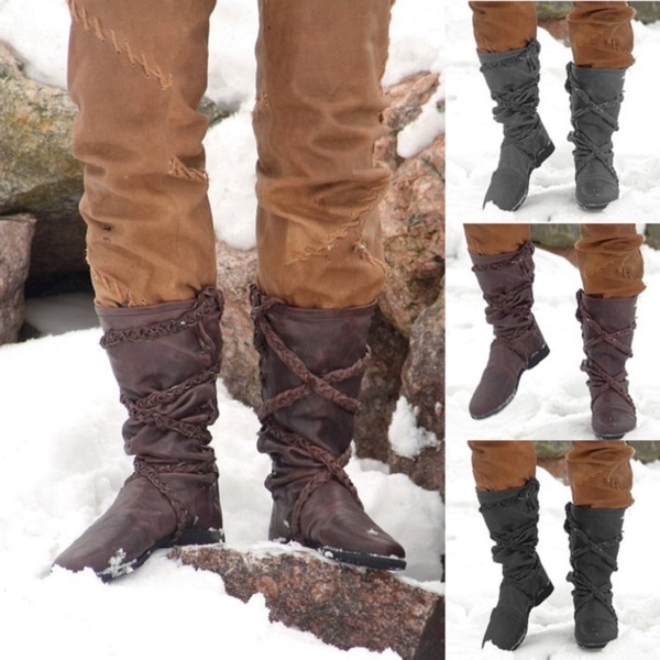 Men\u0027s Fashion Medieval Leather Boots Vintage Coslpaly Celtic Boots Lace Up  Viking Shoes Renaissance Role Playing Pirate Boots Men Winter Ankle Boots