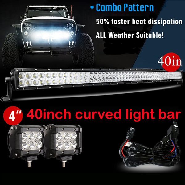 hot sell!!! 40inch 240w combo beam curved led light bar with wiring harness  + 2x 18w driving flood light for jeep wrangler dodge ram ford truck polaris  rzr