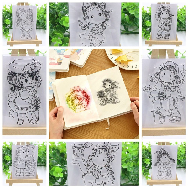 Lovely Girl DIY Transparent Clear Silicone Stamp Seal for DIY Scrapbooking Decor