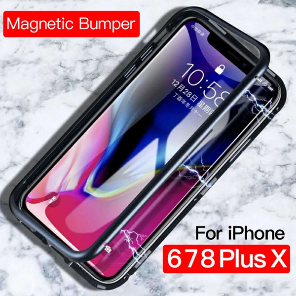 hot sales 28259 ced4a Fashion 360 Degrees Magnetic Adsorption Phone Case For Iphone X 6 6s 7 8  Plus Magnet Bumper Metal Flip Tempered Film Glass Protection IPhone Coque  ...