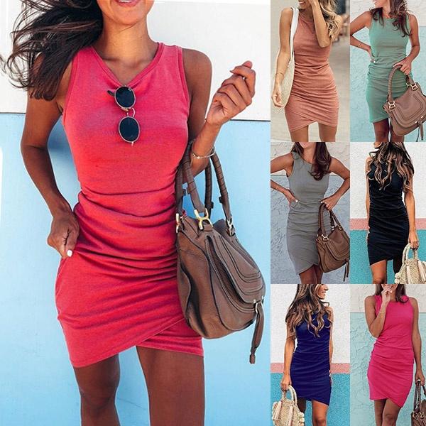 Summer, dressesforwomen, irregulardres, Necks