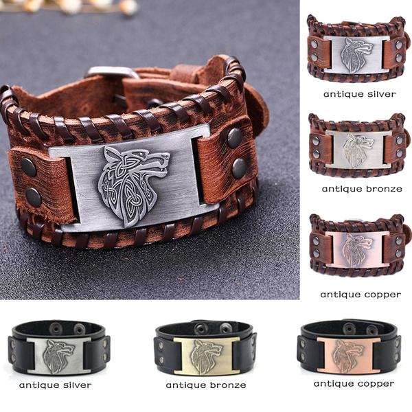 Religious Bangle Viking Wolf Bracelet