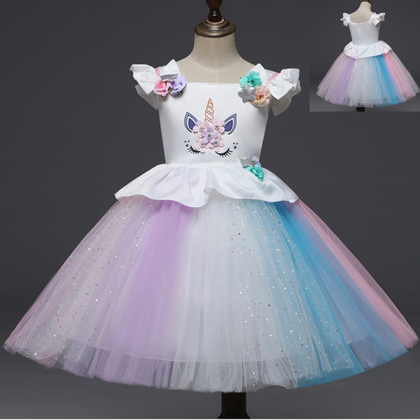 2018 Girls Halloween Unicorn Costume Princess Dress Charming Rainbow Ballet Sequins Tutu Toddler Baby Girl Fist Birthday Outfits Kids