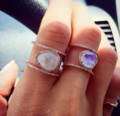 Sterling, DIAMOND, gold, Moonstone