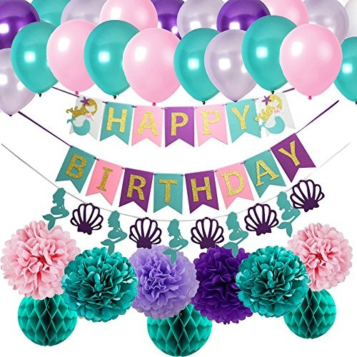 Mermaid Party Supplies Mermaid Teal Purple Pink Latex Ballons Tissue Pom Pom Teal Purple Happy Birthday Banner With Glitter Gold Letters Teal