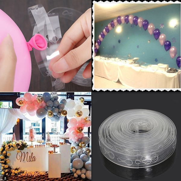 5m Transparent Balloon Decorating Strip Connect Chain Diy Balloon Arch Strip Tape Decor Wall Backdrop For Celebration Birthday Wedding Baby Shower