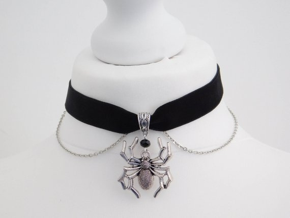 Goth, Men  Necklace, velvet, Jewelry