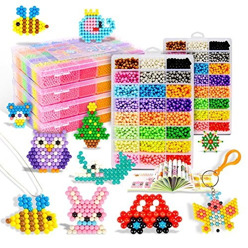 Aqua water beads Beginners Studio perler fusion Craft beads Art Crafts toys  for kids non toxic with bead palette, layout table, bead pen, bead peeler,