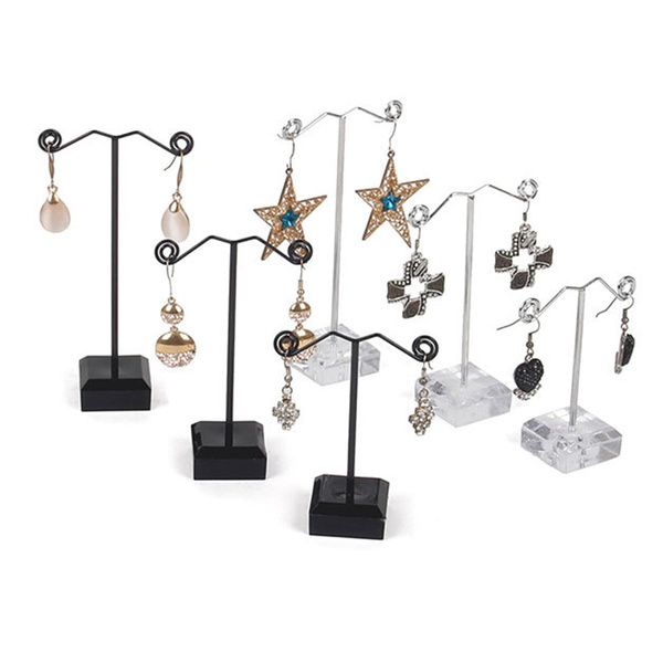 Exhibition Stand Organizer : Mini acrylic metal tree earrings necklaces jewelry display stand
