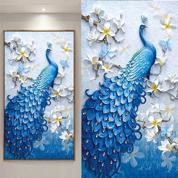 Peacock DIY 5D Diamond Embroidery Painting Rhinestone Cross Stitch Home Decor
