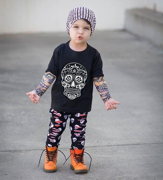 wish cute newborn toddler kids halloween costumes cool baby boy tattoo sleeves tops skull pants 4pcs outfits clothes set