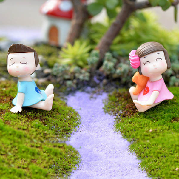 Wish | Hot 4pcs/1set Sweety Lovers Couple Figurines Miniatures Fairy Garden  Gnome Moss Terrariums Resin Crafts Decoration Accessories