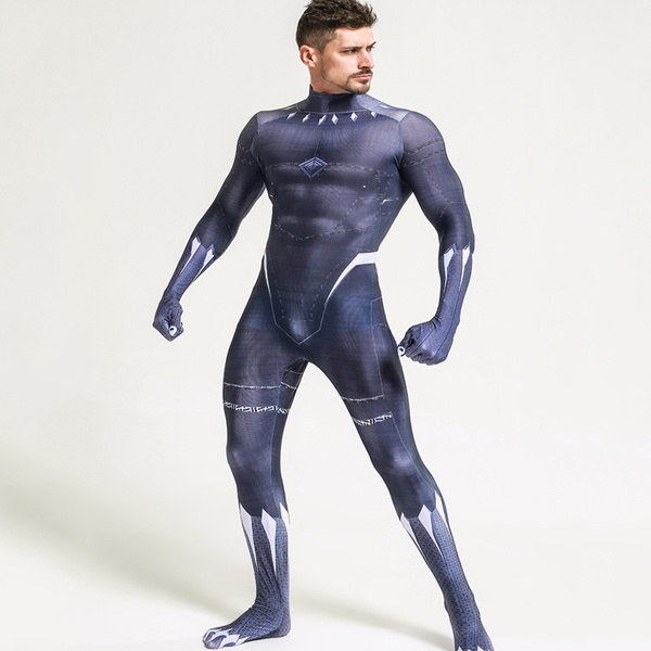 2018 Black Panther T/'Challa Cosplay Costume Wakanda King Jumpsuits Fancy Dress