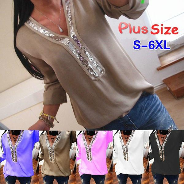 Fashion Womens Deep V Neck Blouses Loose Tops Tunic T Shirts Plus Size
