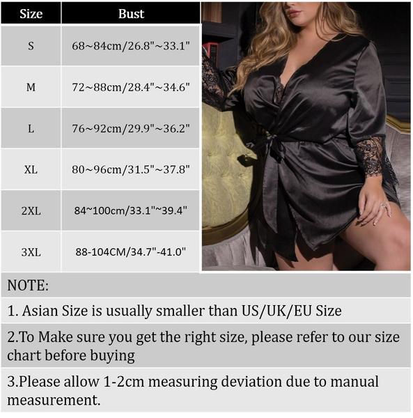 Wish Plus Size Women Sexy Silk Kimono Dressing Gown Babydoll