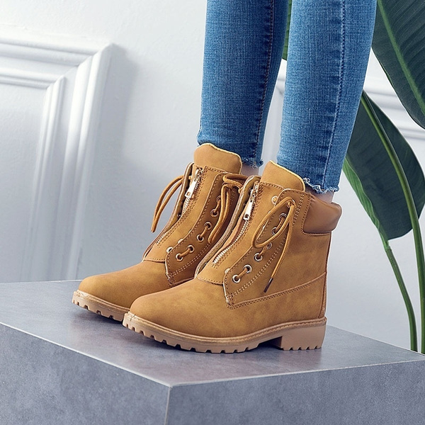 Size 36 41 Women Boots PU Leather Women Shoes Lace up Ankle Boots for Lady Girl Comfortable Platform Flat Boots Big Size:36 43