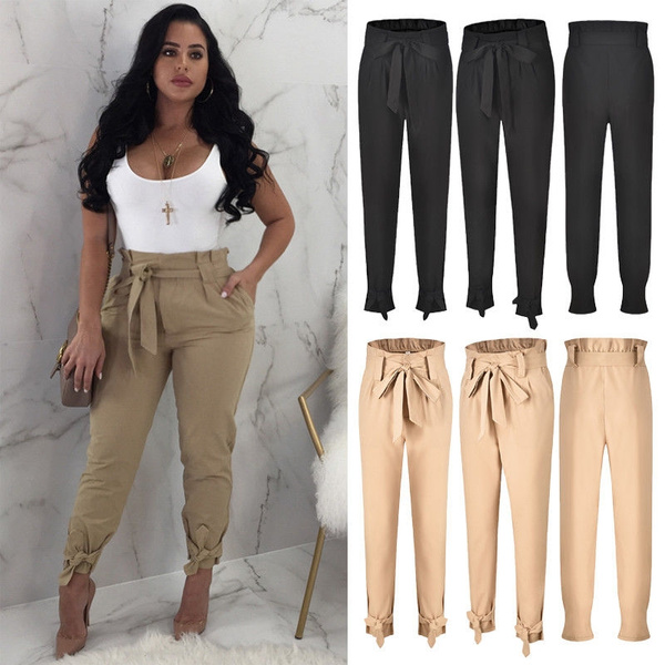 hot-selling newest provide plenty of on feet at Women Solid Color High Waist Ruffle Bow Tie Pants Casual Work Trousers with  Pockets