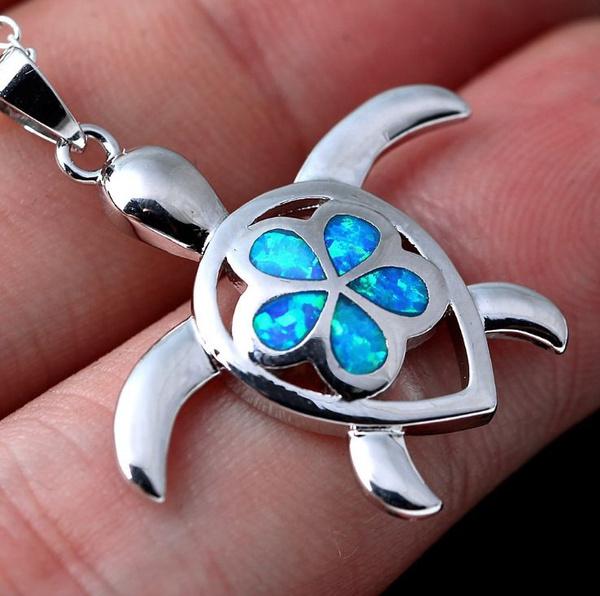 Turtle, Blues, Chain Necklace, Fashion