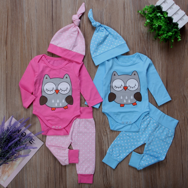 fad7ed225 Twins Matching Newborn Baby Boys Girl Tops Romper Pants Hat Outfits Clothes  3Pcs