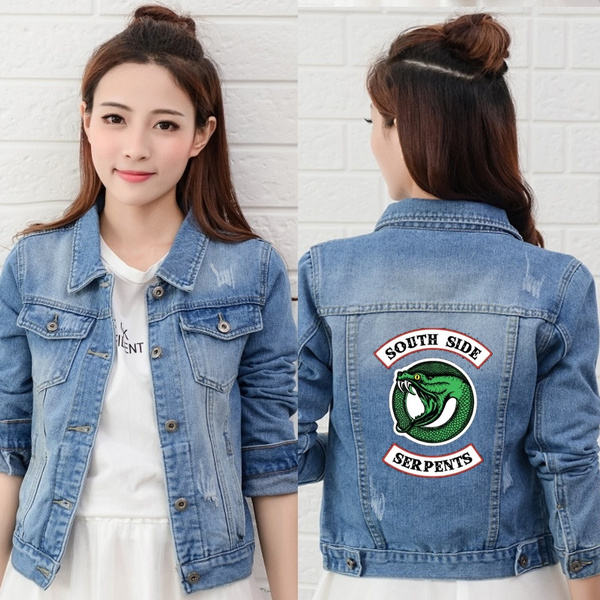 f8d8ca14990 Riverdale Southside Serpents Women Denim Jacket Jeans Bomber Jacket Coat  Casual Female Outwear