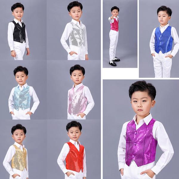 Children Kids Sequin Vest Waistcoat Dance Party Show Costume Unisex