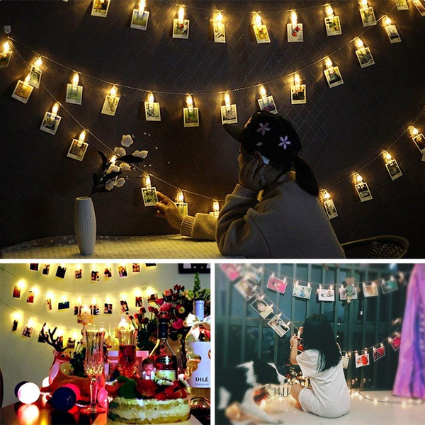 huge selection of 44561 558f8 New Year LED Photo String Lights 40 Photo Clip Fairy Twinkle Lights USB  Powered Spring Festival Ornaments Indoor String Starry Light for ...