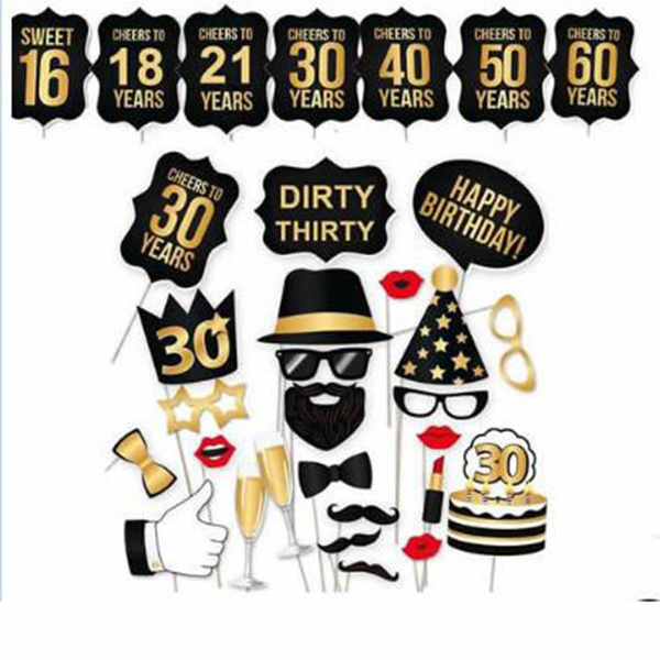 Photo Booth Props 30th Birthday Man Woman Thirtieth Dirty 16 18 21st 30 40 50 60th Photobooth Big Adult Size 36PCS