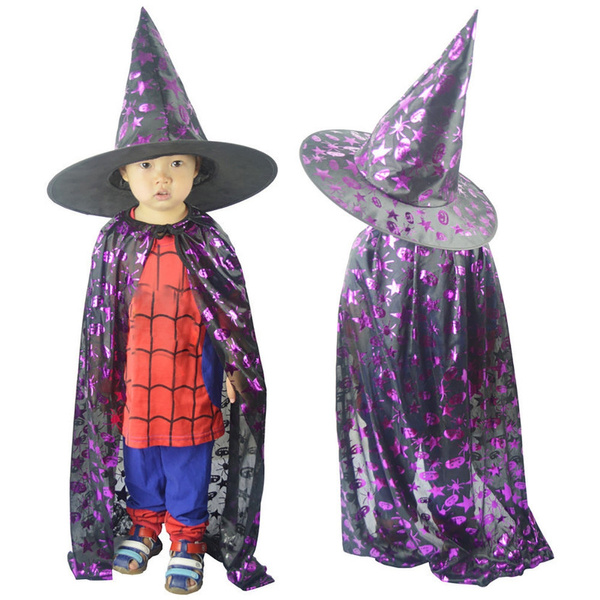 99c1a15a66c Kids Adult Children Halloween Baby Costume Wizard Witch Cloak Cape ...