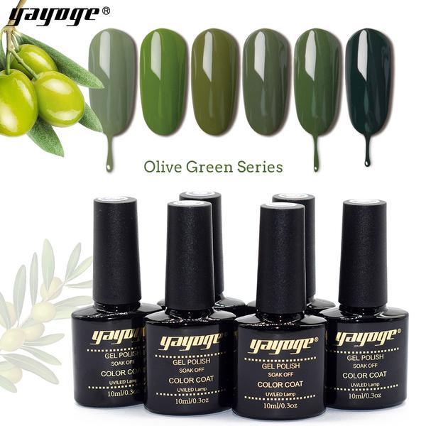 Yayoge 10ml Olive Green Uv Led Gel Nail Polish Semi Permanent Soak Off Varnish Nail Art Gel Polish