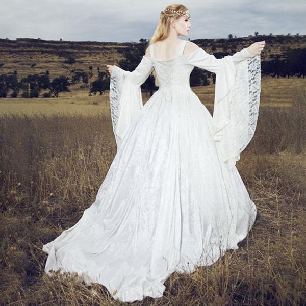 Wish Women Vintage Renaissance Princess Gothic Dress Floor Length