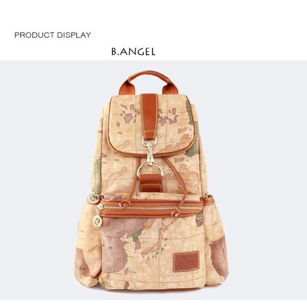 Wish Vintage Waterproof Backpacks Leather World Map Pattern