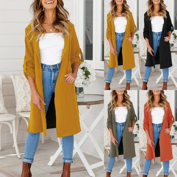 Thereadict Women Trench Coat Casual Lapel Long Sleeve Autumn Split Olive Green Overcoat Thin Windproof Windbreaker Coat Outwear