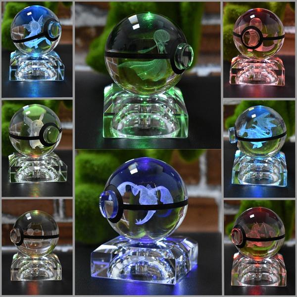 Pokemon Lugia 3D LED Crystal Pokeball Night Light Table Lamp Xmas Gift RGB