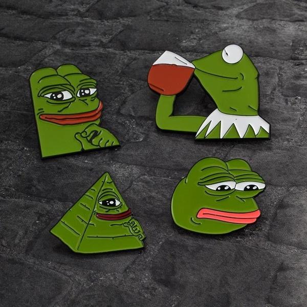 Weird Funny Sad Pepe The Frog Lapel Pin Frog Pepe Cartoon Brooch Cute  Enamel Pin RVY