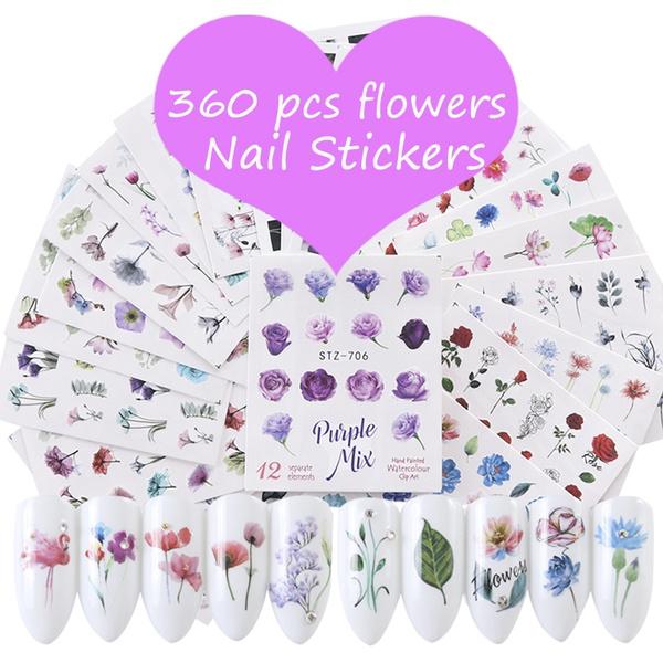 nail decals, flowersticker, watermarkflower, Beauty