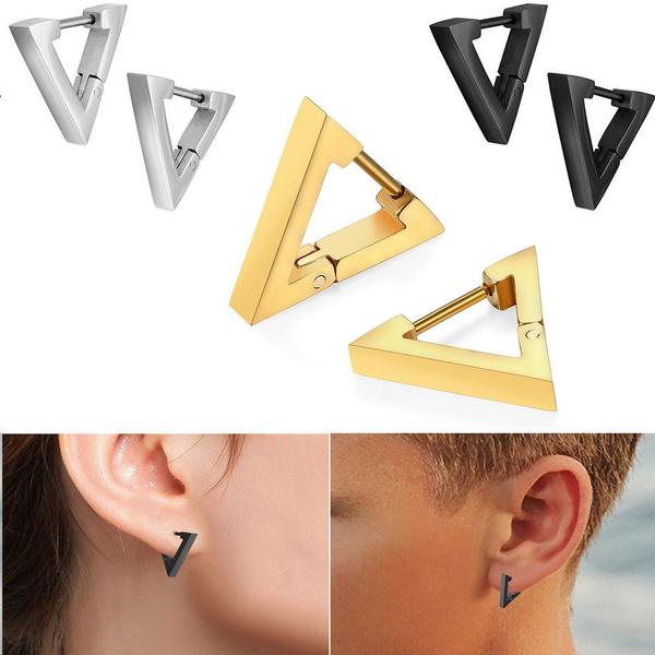 ff75791b71759 A Pair Men's Punk Rock Stainless Steel Triangle Hoop Huggie Ear Studs  Earrings Jewelry