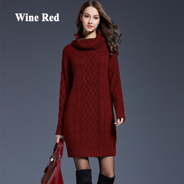 Cute Women Autumn Winter Warm Long Knitted Sweater Dresses Plus