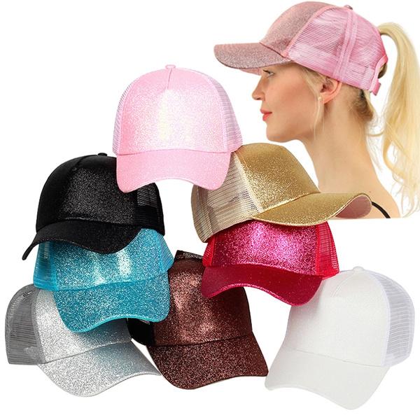 28df73a3 2018 Fashion Shining Glitter Ponytail Baseball Cap Womens Hat Hip ...