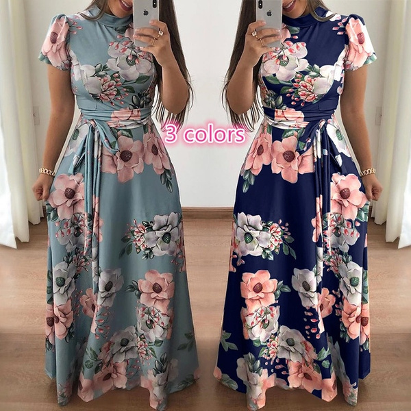Women Clothes Ladies Casual Dresses Fashion Design Floral Print Party Lady Short Sleeve Slim Fit Lace Up Long Maxi A Line Dress Wish