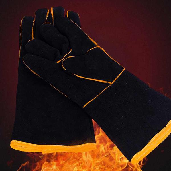 "1Pairs Heavy Duty Black Mig Welding Gloves Gauntlets Welders Leather Gloves 13/"""