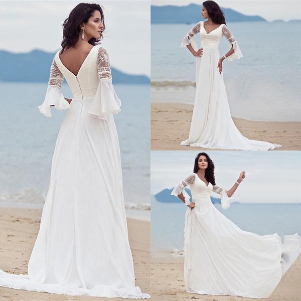 Women Summer Mesh Sleeve Dress Lace V Neck Long White Elegant Beach Wedding Dress
