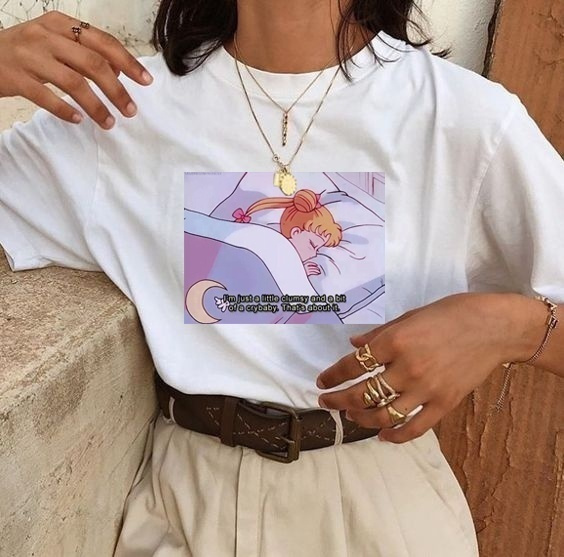 2018 I\'m Just A Little Clumsy Sailor Moon Quotes T-Shirt Women Kawaii  Japanese Anime Aesthetic White Tee Hipsters