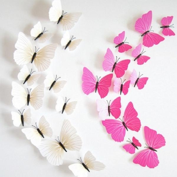 12 Pcs 3D Stickers Muraux Home Decor Papillons Sticker Mural Enfants ...