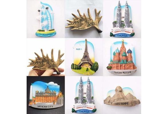 3D Art Resin Fridge Magnet Tourist Travel Souvenir Craft Gift Paris Dubai  Sweden