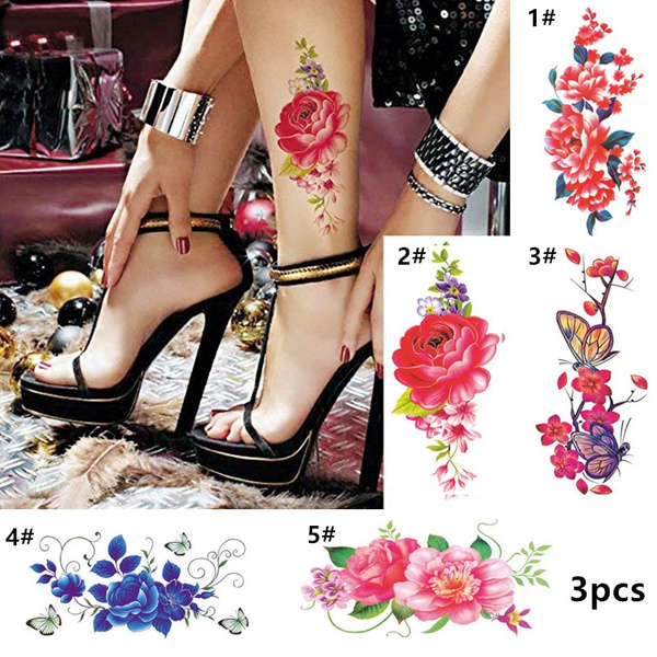 Owill 3pcs 3d Temporary Tattoos For Women Flowers Waterproof Tattoo Sexy Stickers Girls Teens Lady Tattoo For Arm Leg Shoulders Collarbone Waist Chest