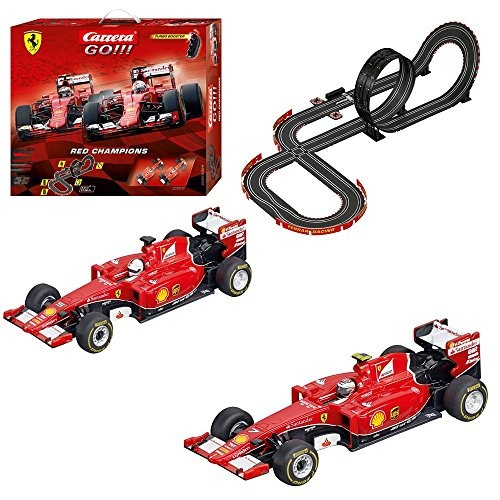 Carrera GO!!! Ferrari Red Champions Slot Car Race Track - 1:43 Scale Analog  System - Includes 2 Formula 1 Cars with and 2 Controllers -
